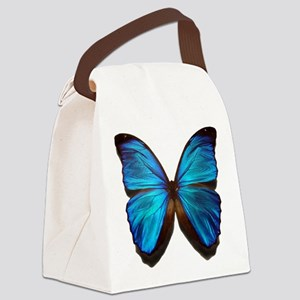 blue butterfly two Canvas Lunch Bag