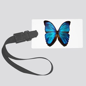 blue butterfly two Large Luggage Tag