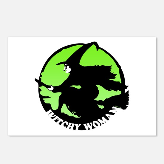 Witchy Woman (Green) Postcards (Package of 8)