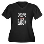 Powered by Bacon Women's Plus Size V-Neck Dark T-S