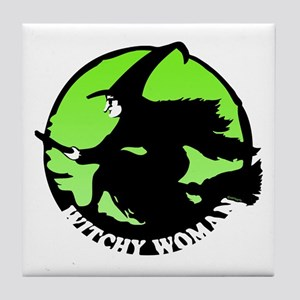 Witchy Woman (Green) Tile Coaster