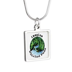Imagine Whirled Peas Silver Square Necklace