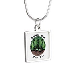 Peas On Earth Silver Square Necklace