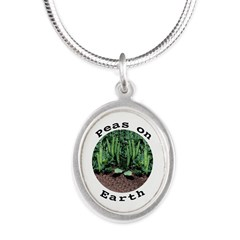 Peas On Earth Silver Oval Necklace