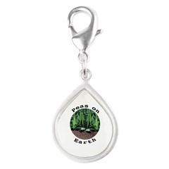 Peas On Earth Silver Teardrop Charm