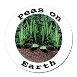 Peas On Earth Round Car Magnet