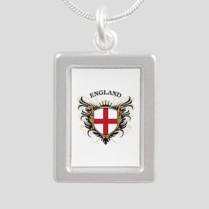 England Silver Portrait Necklace