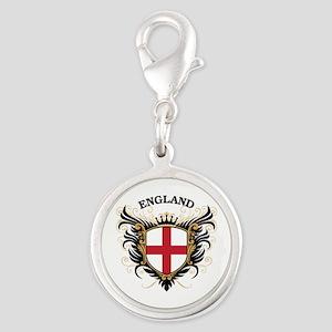England Silver Round Charm
