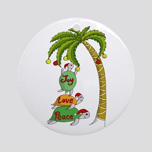 Hawaiian Christmas Turtles Ornament (Round)