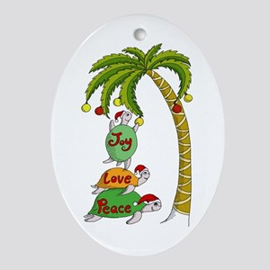 Hawaiian Christmas Turtles Ornament (Oval)