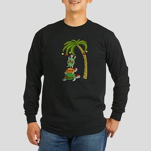Hawaiian Christmas Turtles Long Sleeve Dark T-Shir
