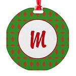 Christmas Wrap Monogram Round Ornament