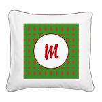 Christmas Wrap Monogram Square Canvas Pillow