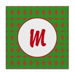 Christmas Wrap Monogram Tile Coaster