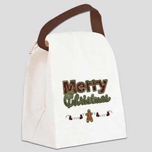 Merry Christmas Gingerbread Canvas Lunch Bag