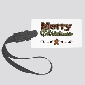 Merry Christmas Gingerbread Large Luggage Tag