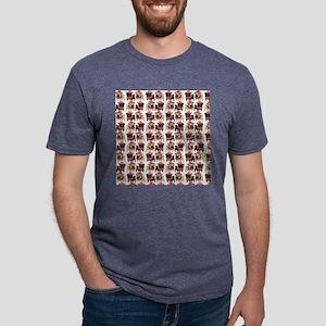 Black and Fawn Christmas Pu Mens Tri-blend T-Shirt