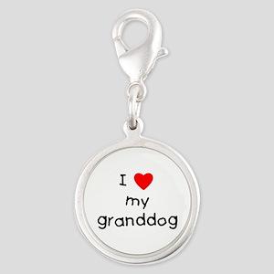 I love my granddog Silver Round Charm
