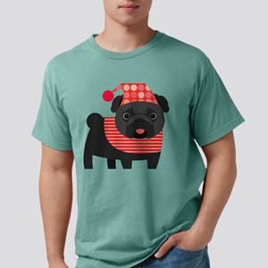 Christmas Pug - Black Mens Comfort Colors Shirt