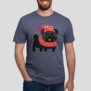 Christmas Pug - Black Mens Tri-blend T-Shirt