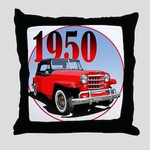 1950 Redjeepster Throw Pillow