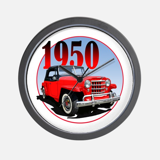 1950 Redjeepster Wall Clock