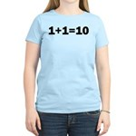 Binary Equation Joke 1 +1 = 10 Women's Light T-Shi