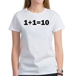 Binary Equation Joke 1 +1 = 10 Women's T-Shirt