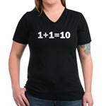 Binary Equation Joke 1 +1 = 10 Women's V-Neck Dark