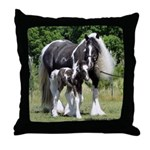 Gypsy Mare and Colt Throw Pillow
