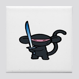 Black Minky with Shiny Sword  Tile Coaster