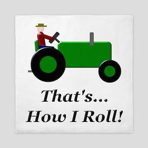Green Tractor How I Roll Queen Duvet
