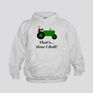 Green Tractor How I Roll Kids Hoodie