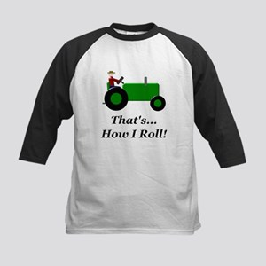 Green Tractor How I Roll Kids Baseball Jersey