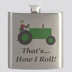 Green Tractor How I Roll Flask