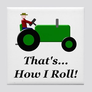 Green Tractor How I Roll Tile Coaster