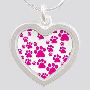 Heart of Paw Prints Silver Heart Necklace
