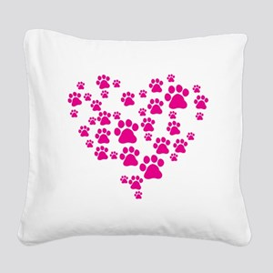 Heart of Paw Prints Square Canvas Pillow
