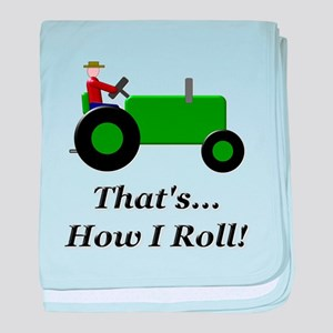 Green Tractor How I Roll baby blanket