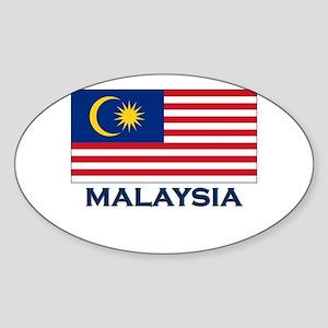 Malaysia Flag Gear Oval Sticker