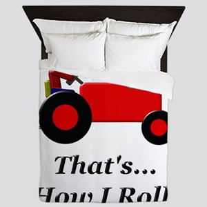 Red Tractor How I Roll Queen Duvet
