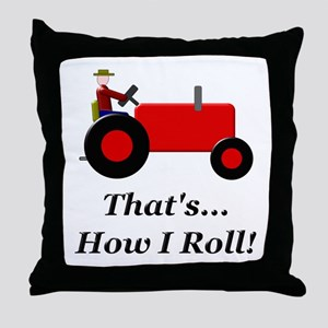 Red Tractor How I Roll Throw Pillow