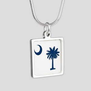 Palmetto & Crescent Moon Silver Square Necklace