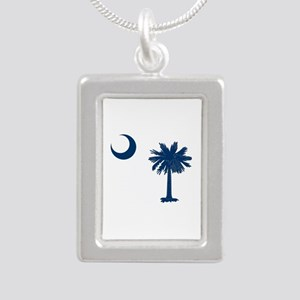 Palmetto & Crescent Moon Silver Portrait Necklace