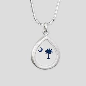 Palmetto & Crescent Moon Silver Teardrop Necklace