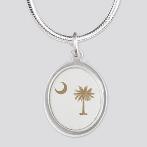 Palmetto & Crescent Moon Silver Oval Necklace