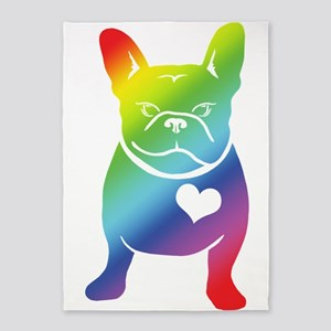 French Bulldog Love Cartoon RAINBOW 5'x7'Area Rug