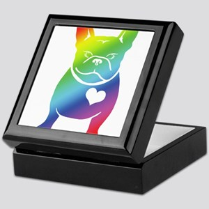 French Bulldog Love Cartoon RAINBOW Keepsake Box