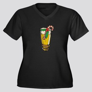 Christmas Ale Women's Plus Size V-Neck Dark T-Shir