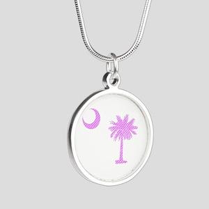Palmetto & Crescent Moon Silver Round Necklace